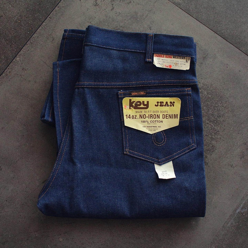 Rare NOS 1970's KEY (Saddle King) NO-IRON Denim Pants (36inch)