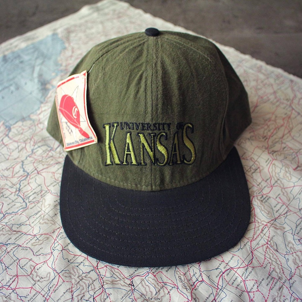 NOS 1990's KANSAS Univ. 6-Panel Ball Cap (Free size)