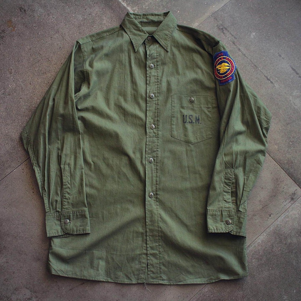 Rare1940's WW2 USN / Seabee's N-3 Tropical Work Shirt (loose 100size)