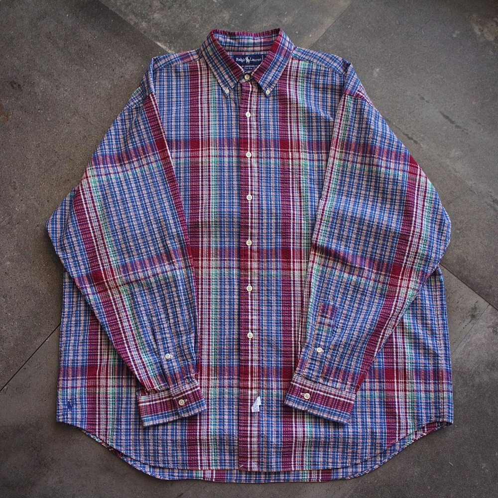 "Vtg Polo RalphLauren Glen Plaid Check ""Big Shirt"" (loose 105size)"