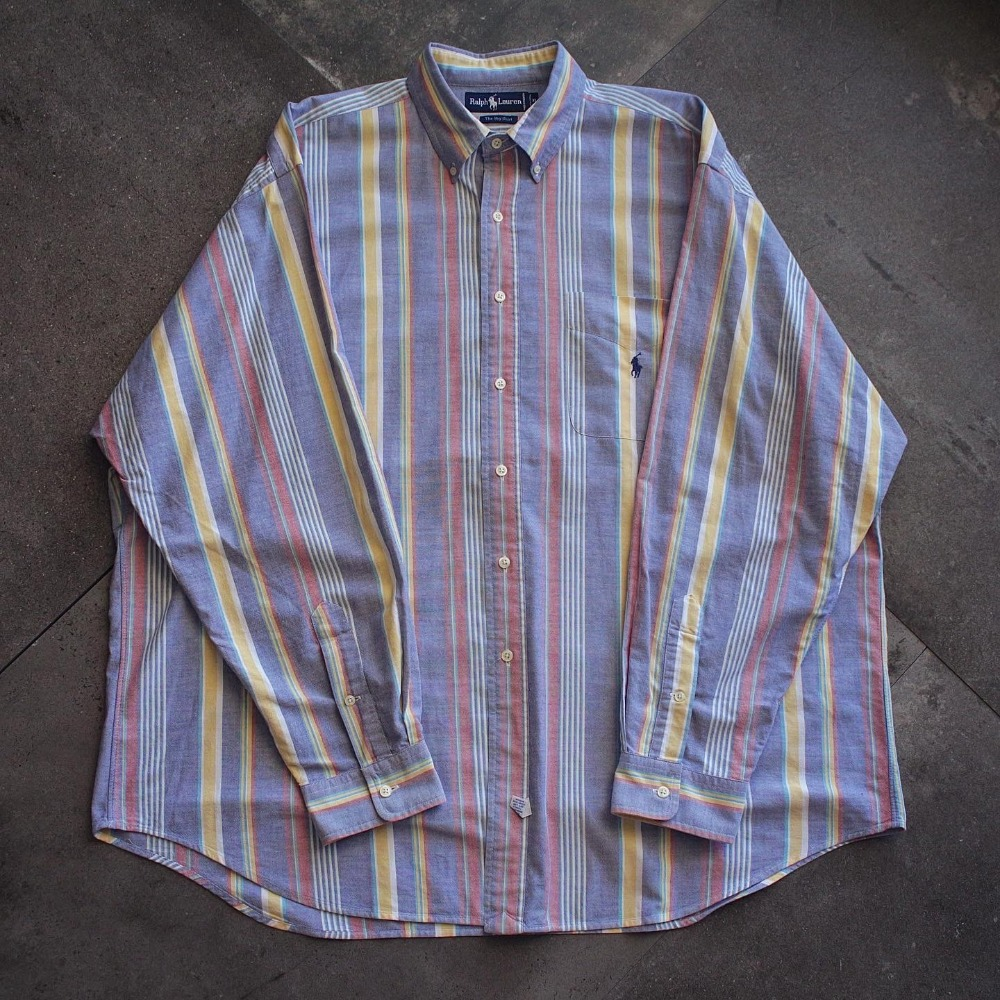 "Vtg Polo RalphLauren Candy Stripe ""Big Shirt"" (loose 105size)"