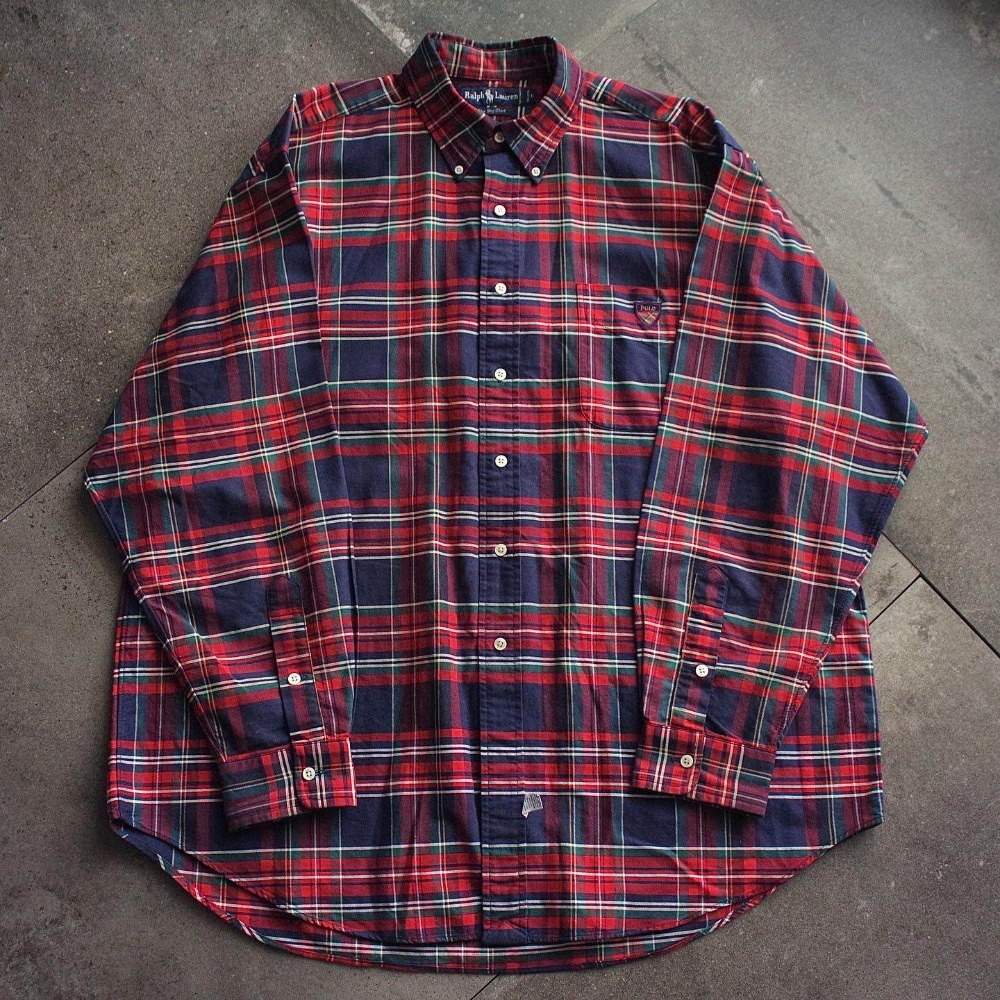 "Vtg Polo RalphLauren Glen Plaid Check ""Big Shirt"" (loose 100-105size)"
