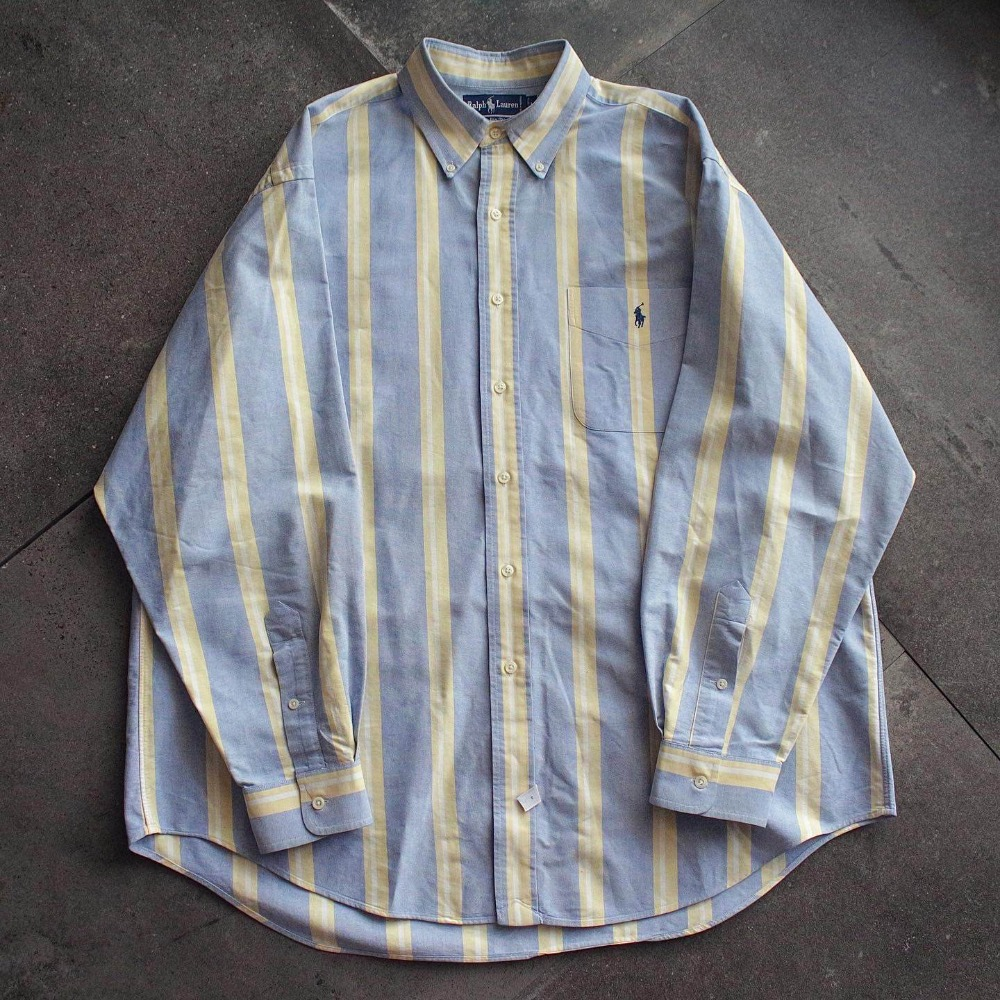 "Vtg Polo RalphLauren Candy Stripe ""Big Shirt"" (loose 100-105size)"